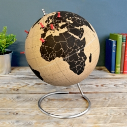 Cork Globe - Pinpoint Your Travels - Stick pins in the places you've been or plan your future travels. Full-size Ø 25cm cork globe with a clear and simple world map: pinpoint cities and tick-off countries as you journey around the planet.