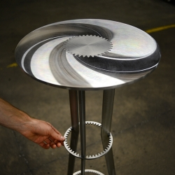 'Gears' tables series made ​​with industrial gearby French designer Amaury Poudray.