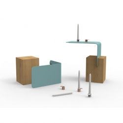'Klapp' and 'Tab', end table and chamber candle holder, by French designer Pauline Coudert.