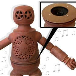 "David Todd Trost created a sculpture with a speaker system.  This 4' tall terra cotta robot, titled ""Robot"", is wired for sound with a 12"" speaker inset inside his hips."