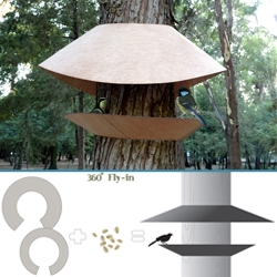 360° Fly-in by NOS design is a bird feeder that wraps around different tree diameters without damaging them. Made from recyclable organic materials, it can be removed easily and installed on another tree.
