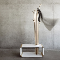'Tilia' freestanding hanger that can be also used as a seating by designer Alicja Prussakowska.