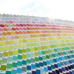 Rainbow by Pantone- Basheer Graphic Book recreate rainbow by pantone chips. The arch is 8 meter in length and 4.5 meter in height, used more than 5000 different color chips to cover the arch.