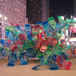 Jason Peters was commissioned by the Times Square Alliance to create a temporary sculpture out of the plastic lawn chairs in the pedestrian plaza between 42nd and 47th Streets.