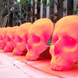 Structural street art in the form of Skullface found around London. Photos of the colorful skull masks from OKUMANCHOJA's flickr page.