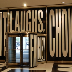 Commissioned by real estate mogul Aby Rosen, Barbara Kruger designed this bold, black and white lobby display.