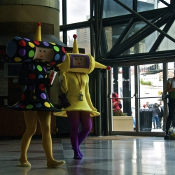 Two cousins (characters) from the video game Katamari Damacy, walking the Jacob Javits Center on September 26, 2009. Costumes made by Janeille Pita.