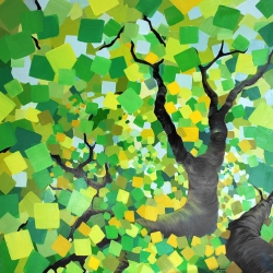 Alison Jardine uses traditional oil-on-canvas techniques to render digitally distorted and filtered images of nature. Trees with pixel leaves, forests in infrared, pixel snowstorms across fractal branches...