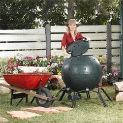 This giant green ball of an Eco-Composter is amazing ~ you have to watch the demo video of this death star like contraption...