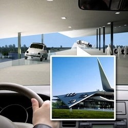 3GATTI Architecture Studio won a competition to design an Origami inspired Automobile Museum in Nanjing, China.  An external concentric ramp allows visitors to drive around the exterior of the museum in their own car.