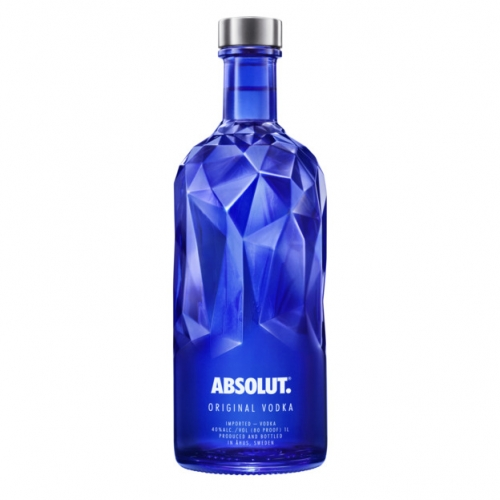 Absolut Facet, a blue bottle featuring an asymmetrical design, their latest limited edition bottle.