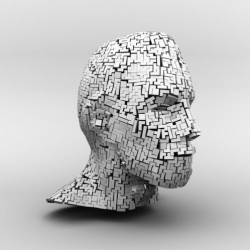 3D Tetris Head design made completely out of the popular Tetris game bricks.