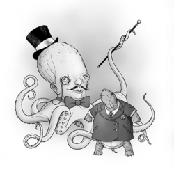 John Adams illustrates a smart octopus and tortoise for McSweeney's Quarterly Concern.