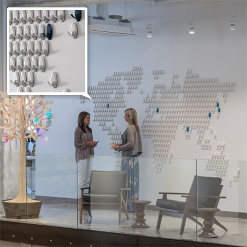 Core77 takes us inside the new 3M Design Center in St. Paul, MN and there is a world map made of 3M hooks.