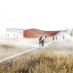 3XN just won the international competition for the new Randers Museum of Art in Denmark. A red sinuous roof becomes the wall at some points, perfectly set over the landscape.