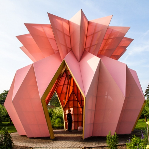 Studio Morison has unveiled Look! Look! Look!, a striking sculptural pavilion shaped like an origami pineapple in the National Trust's historic Berrington Hall in Herefordshire.