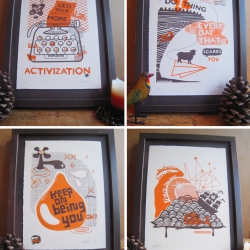 The gorgeous new limited edition screen print collection from POPCORNY.  orange and brown on creamy paper  with a little mantra or fun message to put up around the house to inspire you.  Affordable collectible art!