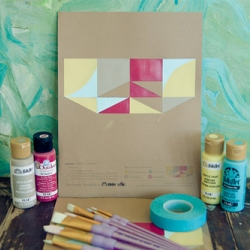 If you're headed indoors to escape the heat, here's a fun print + paint craft I put together with Plaid Enter­prises.