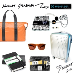 NOTCOT Holiday Giveaway #2: Wejetset! A huge travel bundle of goodies! From roller suitcase and jack spade back to headphones, sunglasses, and more!