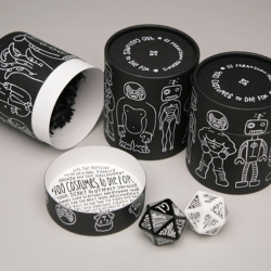Designed to help recipients decide what to be for Halloween, the piece consists of two custom-made, 20-sided dice that offer 400 possible original costume combination.