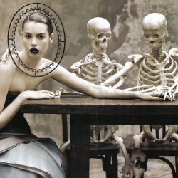 It's Evolution of the Species as Ruven Afanador pits skeletons and anatomy against fashion in this editorial for Elle Italia