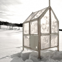Norwegian designers create a foldable ice fishing hut for one, with walls made of ice.