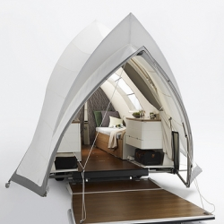 Opera: This nomadic, contemporary living tent offers the quality of a luxury yacht combined with the outdoor feeling of camping under canvas.
