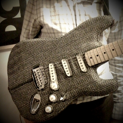 """Felt Mistress was commissioned to make a Stratocastercaster guitar less rock & roll and more """"geography teacher"""""""