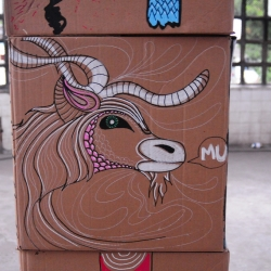 Caligraffiti at Expo Shout in Rio de Janeiro. Illustrations and paintings on cardboard boxes.