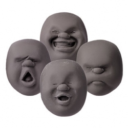 Faces on the Moon stress balls by Makiko Yoshida now in grey!