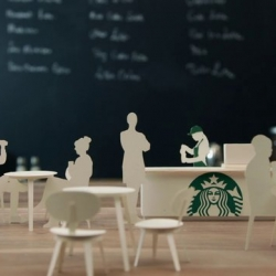 Starbucks video telling the reversed story from coffee bean to coffee cup with beautiful animations.