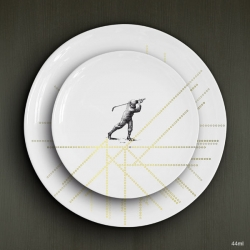 The young freelance designer Laurent MEURGEY creates a beautiful porcelain plates.