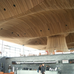 loved the national assembly for wales in cardiff.  great sustainable, ecofriendly building.  uses natural light, materials and feels really open.  it was shortilsted for the RIBA.  more info at richard rogers.