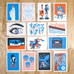 a set of 13 screen printed post-er cards, designed by Bandito Design Co. as self promotion for their 1 year anniversary of making things.