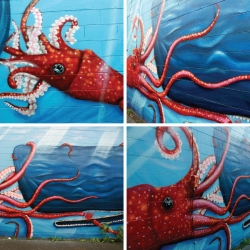 60 Foot Mural by Pixel.Tron & Karl Addison - two Seattle based artist.  Squid VS. Whale Release Party August 29th @ The Twilight Exit - 6PM