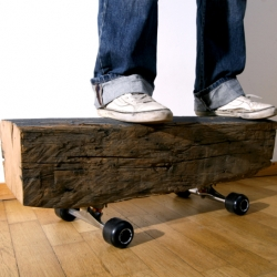'my uzi weights a ton' giant skateboard by Herr Schulze