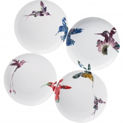 The Flutter collection from Loveramics, designed by Peter Ting, features the surreal introduction of flowers within the silhouette of hummingbirds, having them fly across plates and feeding from flowers.