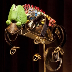 Animal sculptures made from Louis Vuitton bags by British artist Billie Achilleos.