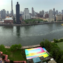 Minnesota-based artist HOT TEA has given a technicolor finish to this swimming pool on New York's Roosevelt Island.