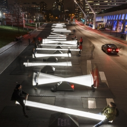 Canadian designers and artists has created an immersive installation in Montreal consisting of 30 illuminated seesaws.