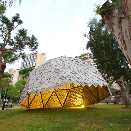 As part of Art in Motion exhibition in Beirut, french firm Atelier YokYok and sculptor Ulysse Lacoste have teamed up with art and architecture students from Beirut to create the Paper dome.