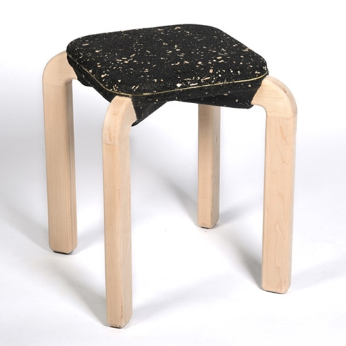 The Macaron Seats by KALO uses recycled rubber crumb made from old tires and wood chips to explore new ways of transforming waste to functional design.