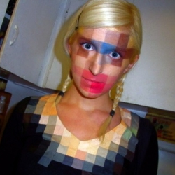 A fantastic Halloween costume: 8-Bit Low-Res Makeup and shirt