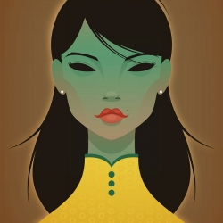 CIA loves this strikingly eerie yet beautiful illustration 'The Green Lady' by Stanley Chow.
