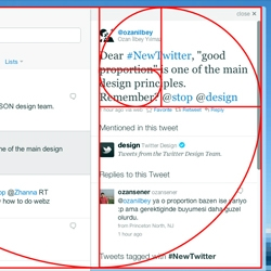 Twitter's creative director Doug Bowman illustrates how the #NewTwitter design creates the golden ratio.