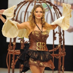 Dresses made out of chocolate at the Salon du Chocolat fashion show in Paris.