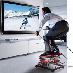 For those times when it's difficult to make your way up to the mountains, or the weather just isn't cooperating, practice your skiing on a SKIGYM home ski simulator