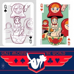 A new deck of playing cards that feature the artwork of two Pixar Studios artists, 54 Intercontinental Cuties has fun animated pin up girls representing places all over the world. Here's a look at the artwork from roughs to finals.
