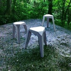 TRYO - It consists of a three in one stool, made out of a 3mm aluminum sheet. The stool can be used as a single stacked item or taken apart and used as three individual ones.