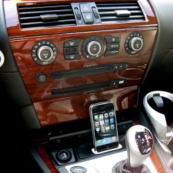 A very elegant way to connect an iPhone or iPod to the vehicle's charging and entertainment system. Available for many vehicle makes and models...